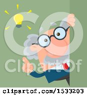 Clipart Of A Male Science Professor With An Idea Looking Around A Sign Or Corner On Green Royalty Free Vector Illustration