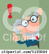 Clipart Of A Male Science Professor With An Exclamation Point Looking Around A Sign Or Corner On Green Royalty Free Vector Illustration