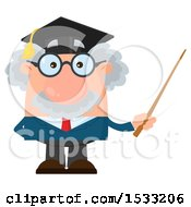 Clipart Of A Male Science Professor Wearing A Graduate Cap And Holding A Pointer Stick Royalty Free Vector Illustration