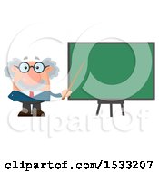 Clipart Of A Male Science Professor Holding A Pointer Stick To A Chalkboard Royalty Free Vector Illustration