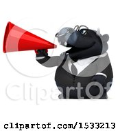 Clipart Of A 3d Black Business Bull Using A Megaphone On A White Background Royalty Free Illustration