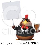 Clipart Of A 3d Chubby Brown Business Chicken Holding A Beer On A White Background Royalty Free Illustration
