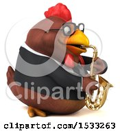 Clipart Of A 3d Chubby Brown Business Chicken Playing A Saxophone On A White Background Royalty Free Illustration