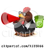 Clipart Of A 3d Chubby Brown Business Chicken Holding A Recycle Bin On A White Background Royalty Free Illustration