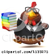 Clipart Of A 3d Chubby Brown Business Chicken Holding Books On A White Background Royalty Free Illustration