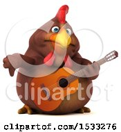 Clipart Of A 3d Chubby Brown Chicken Holding A Guitar On A White Background Royalty Free Illustration