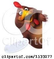 Clipart Of A 3d Chubby Brown Chicken Holding A Plate On A White Background Royalty Free Illustration