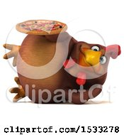 Clipart Of A 3d Chubby Brown Chicken Holding A Pizza On A White Background Royalty Free Illustration