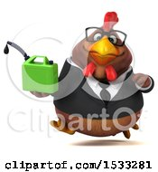 Clipart Of A 3d Chubby Brown Business Chicken Holding A Gas Can On A White Background Royalty Free Illustration