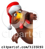 Clipart Of A 3d Chubby Brown Christmas Chicken On A White Background Royalty Free Illustration