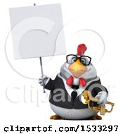 3d Chubby White Business Chicken Holding A Trumpet On A White Background