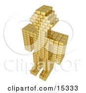 Futuristic Golden Robot Composed Of Blocks Standing With Its Arms At Its Side Clipart Illustration Image