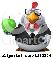 Clipart Of A 3d Chubby White Business Chicken Holding An Apple On A White Background Royalty Free Illustration