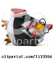 Clipart Of A 3d Chubby White Business Chicken Holding A Steak On A White Background Royalty Free Illustration