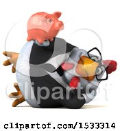 Clipart Of A 3d Chubby White Business Chicken Holding A Piggy Bank On A White Background Royalty Free Illustration