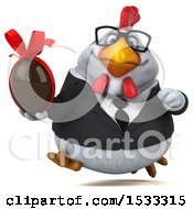 Clipart Of A 3d Chubby White Business Chicken Holding A Chocolate Egg On A White Background Royalty Free Illustration