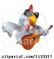 Clipart Of A 3d Chubby White Chicken Holding A Guitar On A White Background Royalty Free Illustration