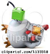 Clipart Of A 3d Chubby White Chicken Holding A Gas Can On A White Background Royalty Free Illustration