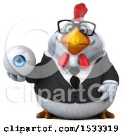 Clipart Of A 3d Chubby White Business Chicken Holding An Eye On A White Background Royalty Free Illustration