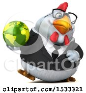Clipart Of A 3d Chubby White Business Chicken Holding A Globe On A White Background Royalty Free Illustration