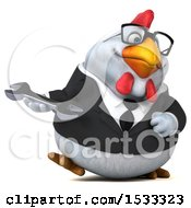 Clipart Of A 3d Chubby White Business Chicken Holding A Wrench On A White Background Royalty Free Illustration
