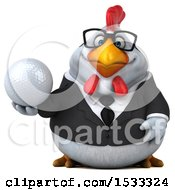 Clipart Of A 3d Chubby White Business Chicken Holding A Golf Ball On A White Background Royalty Free Illustration
