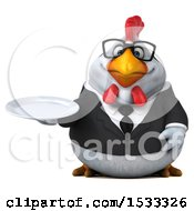 Clipart Of A 3d Chubby White Business Chicken Holding A Plate On A White Background Royalty Free Illustration