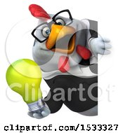 Clipart Of A 3d Chubby White Business Chicken Holding A Light Bulb On A White Background Royalty Free Illustration