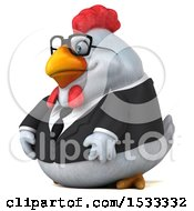 Clipart Of A 3d Chubby White Business Chicken On A White Background Royalty Free Illustration