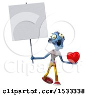 Clipart Of A 3d Blue Zombie Holding A Heart On A Yellow Background Royalty Free Illustration