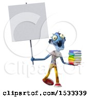Clipart Of A 3d Blue Zombie Holding Books On A Yellow Background Royalty Free Illustration
