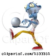 Clipart Of A 3d Blue Zombie Holding A Golf Ball On A Yellow Background Royalty Free Illustration