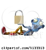 Clipart Of A 3d Blue Zombie Holding A Padlock On A Yellow Background Royalty Free Illustration
