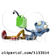 Clipart Of A 3d Blue Zombie Holding A Gas Can On A Yellow Background Royalty Free Illustration
