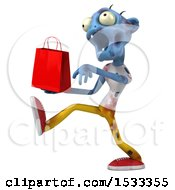 Clipart Of A 3d Blue Zombie Holding A Shopping Bag On A Yellow Background Royalty Free Illustration