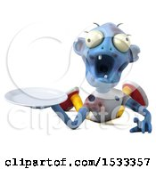 Clipart Of A 3d Blue Zombie Holding A Plate On A Yellow Background Royalty Free Illustration