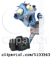 Clipart Of A 3d Blue Zombie Holding A Camera On A Yellow Background Royalty Free Illustration
