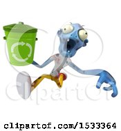 Clipart Of A 3d Blue Zombie Holding A Recycle Bin On A Yellow Background Royalty Free Illustration