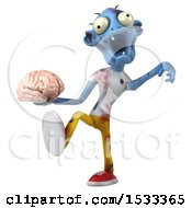 Clipart Of A 3d Blue Zombie Holding A Brain On A Yellow Background Royalty Free Illustration