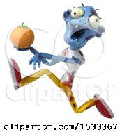 Clipart Of A 3d Blue Zombie Holding An Orange On A Yellow Background Royalty Free Illustration
