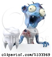 Clipart Of A 3d Blue Zombie Holding A Tooth On A Yellow Background Royalty Free Illustration