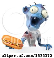 Clipart Of A 3d Blue Zombie Holding A Hot Dog On A Yellow Background Royalty Free Illustration