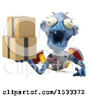 Clipart Of A 3d Blue Zombie Holding Boxes On A Yellow Background Royalty Free Illustration