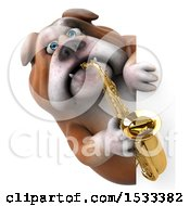 3d Bulldog Holding A Saxophone On A White Background
