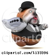 Clipart Of A 3d Gentleman Or Business Bulldog Holding A Plane On A White Background Royalty Free Illustration