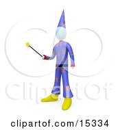 Male Wizard Or Warlock Wearing A Purple Hat And Clothes With Star Patterns Holding A Magic Wand And Preparing To Cast A Spell Or Perform A Magic Trick