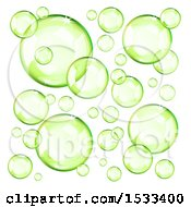 Clipart Of Floating Green Bubbles Royalty Free Vector Illustration