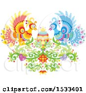 Clipart Of A Floral Heart With Peacocks Grapes And An Easter Egg Royalty Free Vector Illustration
