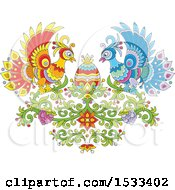 Clipart Of A Floral Heart With Colorful Peacocks Grapes And An Easter Egg Royalty Free Vector Illustration
