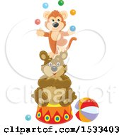 Monkey Juggling Balls On Top Of A Circus Bear